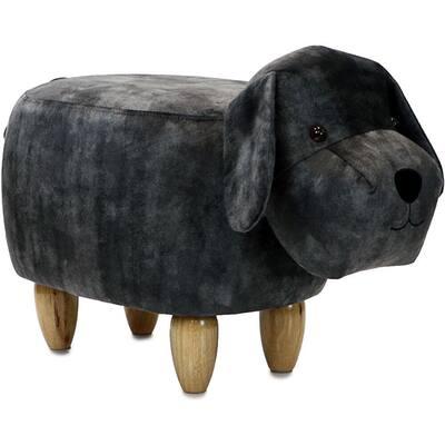 Dark Gray Dog Animal Shape Ottoman