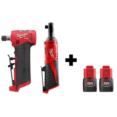 M12 FUEL 12-Volt Lithium-Ion Brushless Cordless 1/4 in. Right Angle Die Grinder and 3/8 in. Ratchet with 2 Batteries