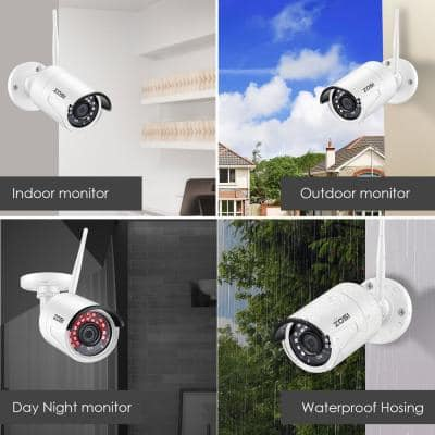 8-Channel 1080p 3TB NVR Security Camera System with 8 Wireless Bullet Cameras