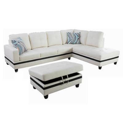 Star Home Living-3-Piece-White-Faux Leather-6 Seats-L-Shaped-Right Facing-Sectionals