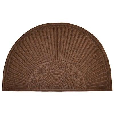 Synthetic Brown Half Round 36 in. x 24 in. Rubber Back Door Mat