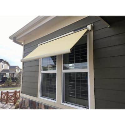 8 ft. Solar Powered Home Window Retractable Smart Awning, Stone Grey Case, Cream Fabric