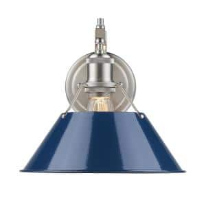 Orwell PW 1-Light Pewter Sconce with Navy Blue Shade