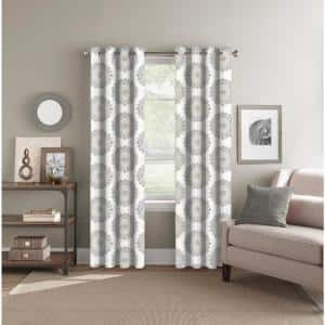 Neutral Medallion Polyester 52 in. W x 84 in. L Back Tab Room Darkening Curtain Panel