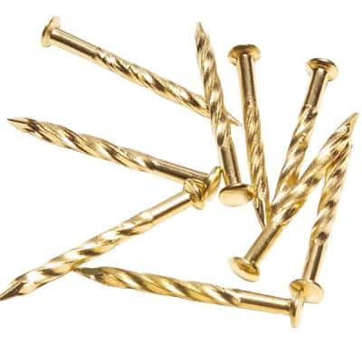 1-1/4 in. Satin Brass Floor Metal Screw Nails (12- Pack)