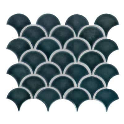 Azul Scallop Glossy 13.11 in. x 9.96 in. x 8 mm Glossy Porcelain Mosaic Tile (9.1 sq. ft. / case)