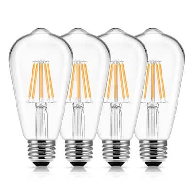 60-Watt Equivalent ST58 Edison LED Light Bulb Warm White (4-Pack)