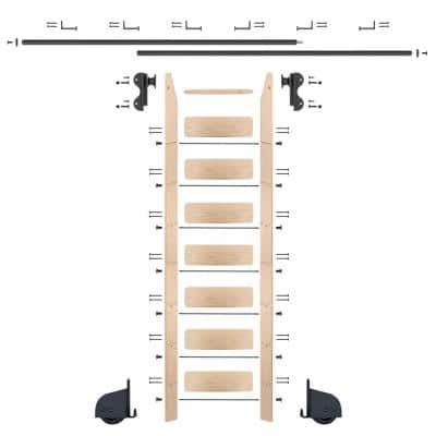 8 ft. Maple Library Ladder (9 ft. Reach) Black Contemporary Rolling Hook Hardware 12 ft. Rail and Horizontal Brackets