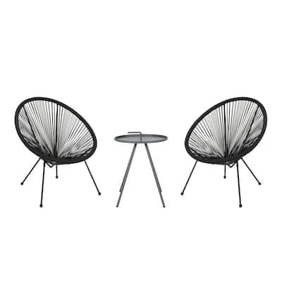 Vida Grey 3-Piece Metal Patio Conversation Seating Set