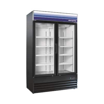 29 cu. ft. Commercial Double Door Merchandiser Freezerless Refrigerator in Black