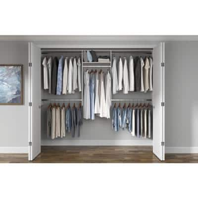 Basic Hanging 60 in. W - 96 in. W White Wood Closet System