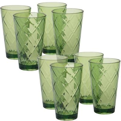 20 oz. 8-Piece Green Acrylic Ice Tea Glass