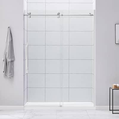 Derby 60 in. W x 78.74 in. H Frameless Sliding Shower Door in Chrome