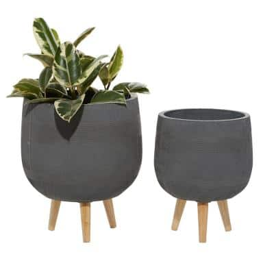 15 in. and 17 in. Dark Grey Round Fiberclay Planters (Set of 2)