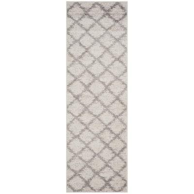 Adirondack Ivory/Silver 3 ft. x 12 ft. Distressed Diamond Runner Rug