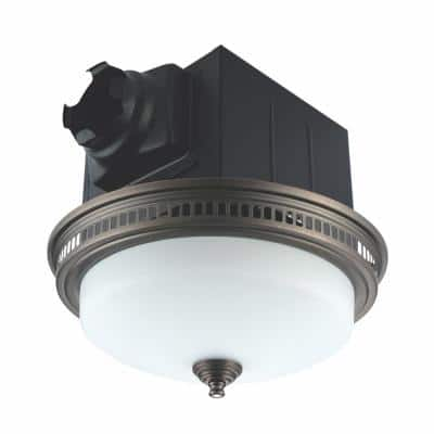 Decorative Oil Rubbed Bronze 110 CFM Ceiling Bathroom Exhaust Fan with Light and Glass Globe