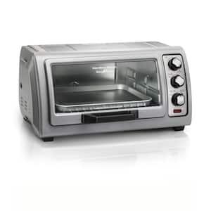 Easy Reach 1400 W 6-Slice Grey Toaster Oven with Roll Top Door