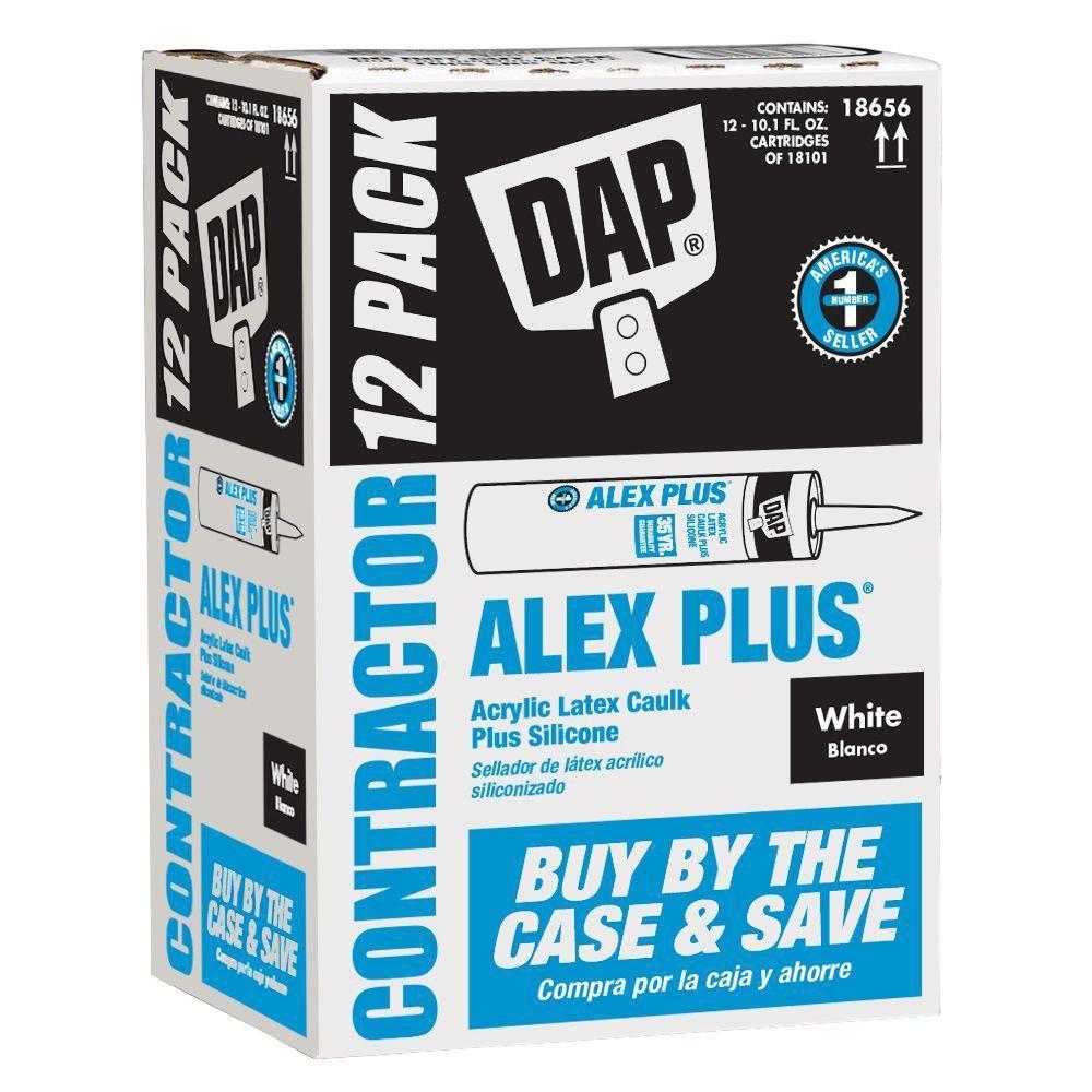 Alex Plus 10.1 oz. White Acrylic Latex Caulk Plus Silicone (12-Pack)