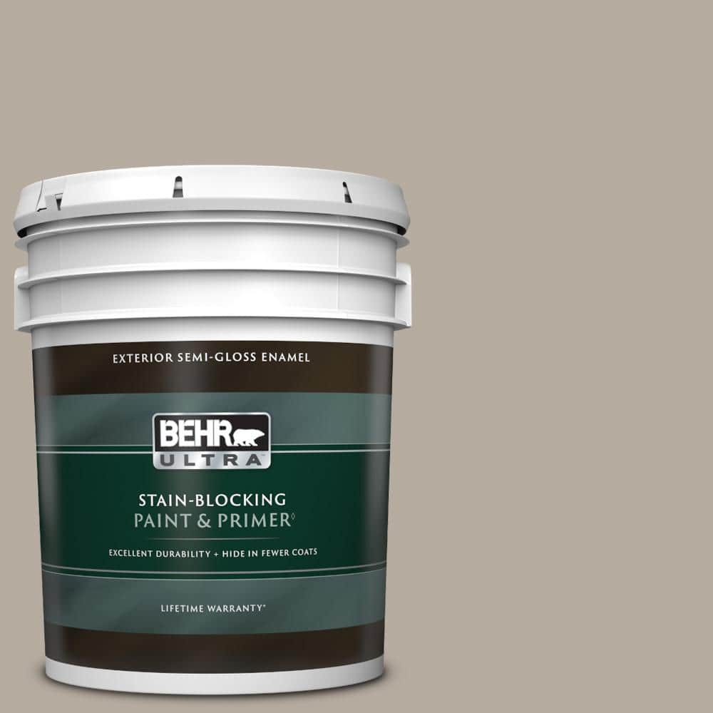BEHR ULTRA 5 gal. #PPU18-13 Perfect Taupe Semi-Gloss Enamel Exterior Paint & Primer