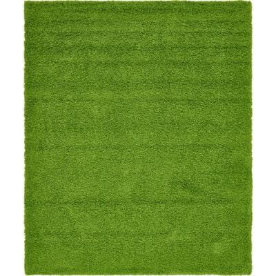 Solid Shag Grass Green 8 ft. x 10 ft. Area Rug