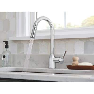 Adler Single-Handle Pull-Down Sprayer Kitchen Faucet with Power Clean and Reflex in Chrome