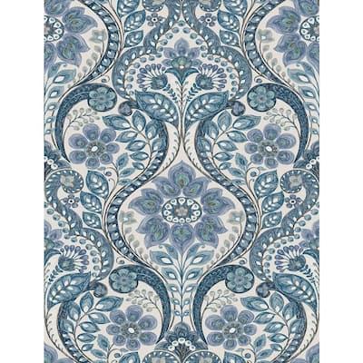 Night Bloom Blue Damask Blue Wallpaper Sample