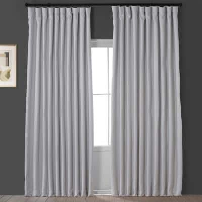 Oyster White Faux Linen Extra Wide Blackout Room Darkening Curtain - 100 in. W X 120 in. L (1 Panel)