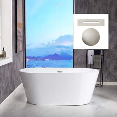 Vienna 59 in. Acrylic FlatBottom Double Ended Bathtub with Brushed Nickel Overflow and Drain Included in White