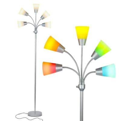 Medusa Modern 78 in. Silver LED Floor Lamp with 5 Interchangeable Color and White Shades