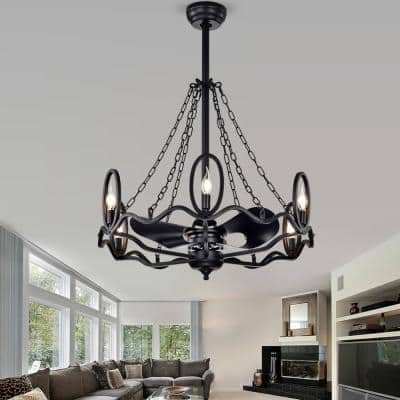 28 in. Indoor Forged Black Industrial Ceiling Fan with Light Kit and Remote