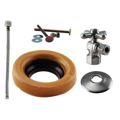 1/2 in. IPS Cross Handle Angle Stop Toilet Installation Kit with Steel Supply Line in Satin Nickel