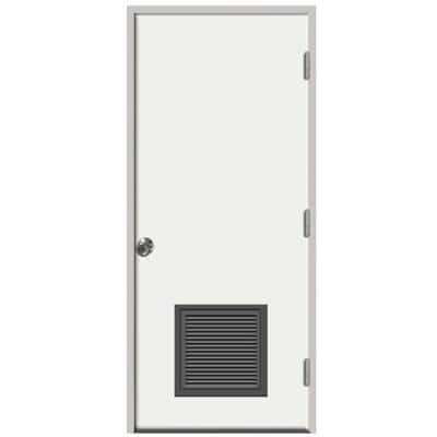 30 in. x 80 in. Premium Vented Flush White Primed Left-Hand Outswing Steel Prehung Front Door with 4-9/16 in. Frame