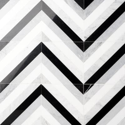 Chelsea Black and White 8 in. x 8 in. Polished Marble Mosaic Tile (0.43 sq. ft./ Each)
