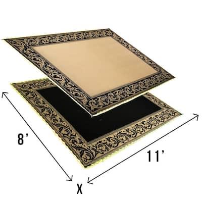 Classical LED Illuminated Black/Beige Patio & RV Reversible Floor Mat- 8' x 11'