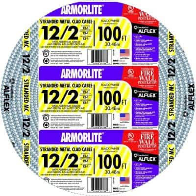 12/2 x 100 ft. Stranded CU MC (Metal Clad) Armorlite Cable