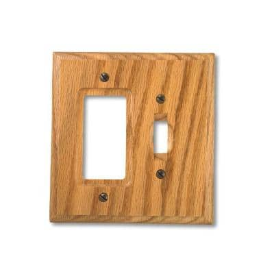 Carson 2 Gang 1-Toggle and 1-Rocker Wood Wall Plate - Light Oak