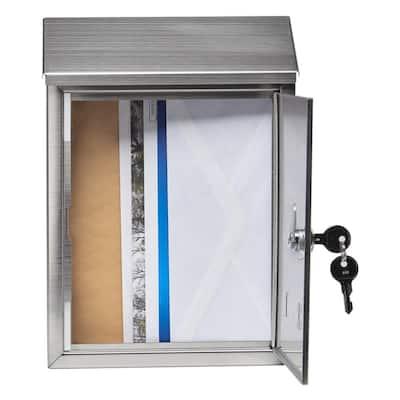 Ashley Medium, Locking, Wall-Mount Mailbox, Stainless Steel