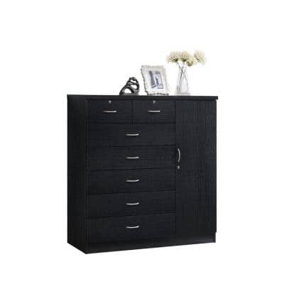 7-Drawer Black Chest of Drawers with Door