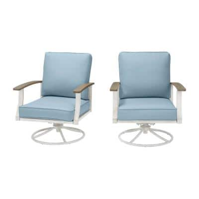 Marina Point White Steel Outdoor Patio Swivel Lounge Chair with CushionGuard Surf Blue Cushions (2-Pack)