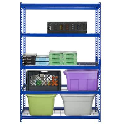 Z-Beam Blue 5-Tier Boltless Steel Garage Storage Shelving Unit (48 in. W x 72 in. H x 18 in. D)