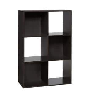 36.25 in. Espresso Wood 6-shelf Cube Bookcase with Open Back