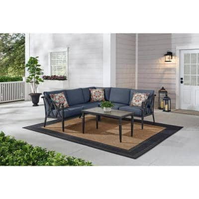 Harmony Hill 3-Piece Black Steel Outdoor Patio Sectional Sofa with CushionGuard Sky Blue Cushions