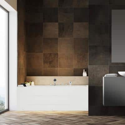 67 in. Acrylic Flatbottom Air Whirlpool Bathtub in White