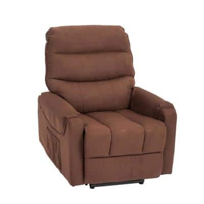 Elderly Velvet with Wireless Control 8-Points Massage and Heat System Power Lift Recliner Chair (Chocolate)