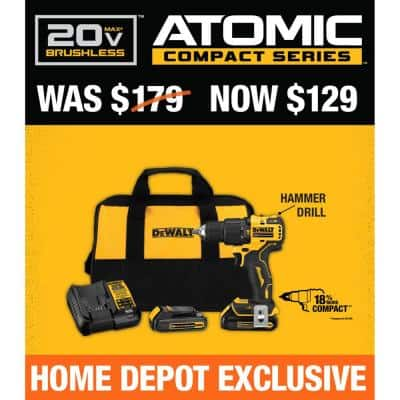 ATOMIC 20-Volt MAX Cordless Brushless Compact 1/2 in. Hammer Drill, (2) 20-Volt 1.3Ah Batteries, Charger & Bag