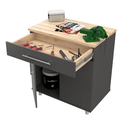 KRATOS 31.5 in. W x 34.65 in. H x 19.69 in. D 2-Shelves Wood Garage Storage Freestanding Cabinet in Dark Gray/Maple