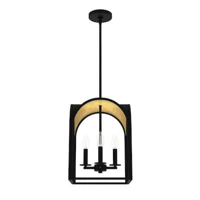 Dukestown 4-Light Natural Iron Gold Leaf Lantern Pendant