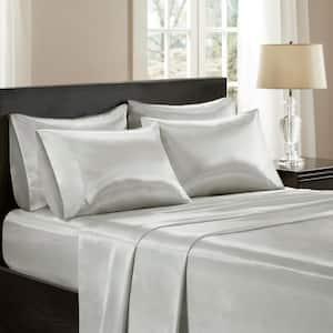 Satin 6-Piece Light Grey Solid Polyester California King Wrinkle-Free Luxurious Sheet Set