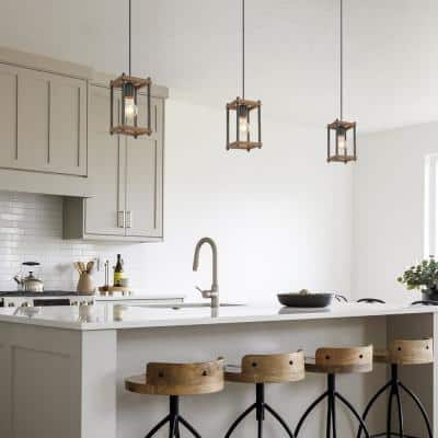 Modern Farmhouse Pendant Light, Firefly 1-Light Black Pendant Light with Rectangular Frame and Painted Wood Accents