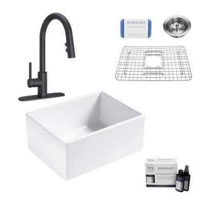 Wilcox II All-in-One Fireclay 24 in. Single Bowl Farmhouse Apron Kitchen Sink with Pfister Stellen Faucet in Matte Black